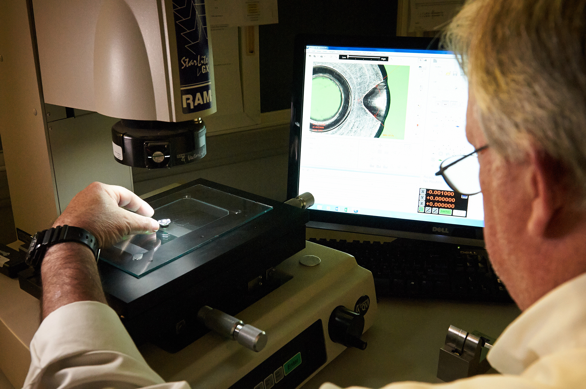 Ramco Quality Technician utilizing Starlite™ Optical Measurement System